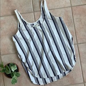 Madewell | Vertical Striped White & Black Tank Top